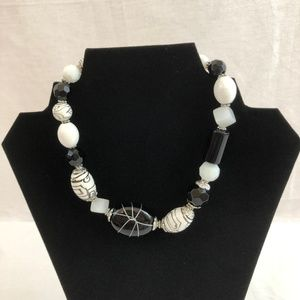 Necklace Black & White Beads with Silver Accents